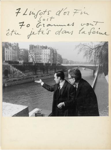 Yves Klein – Zones de sensibilité matérielles – archive de l'action – 1962