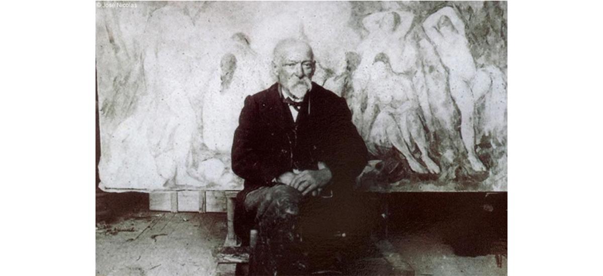 Paul Cézanne (1839-1906) photographié dans son atelier par Emile Bernard