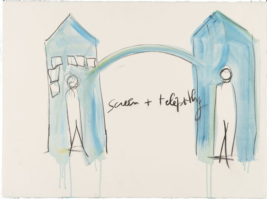 Fabrice Hyber, screen+télépathy, 2013. Watercolor, charcoal on paper, 76 x 57 cm. Collection and courtesy of the artist