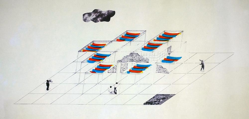Manolis Baboussis, Volterra,1975, collage , photos, encre et feutre sur papier, 28x50cm.
