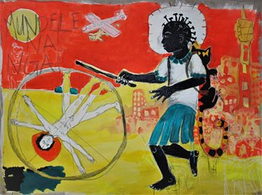 Lydia Schellhammer, Mundele na ngai, Acrylique et crayon sur toile, 80 x 20 cm, 2018