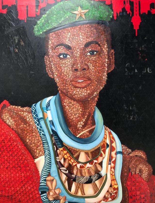 Rodrigo Gudwikila, Le regard de l'espoir, Acrylique et collage papier magazine mode sur toile, 150 x 120 cm, 2018, Collection Rawbank