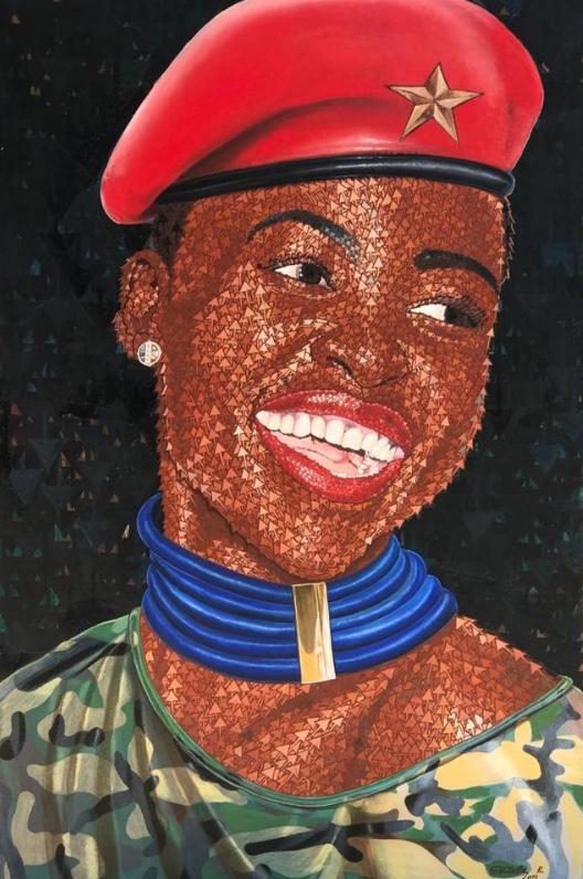Rodrigo Gudwikila, Le sourire d'assurance, 2019. Acrylique et collage papier emballage de supermarché sur toile, 150 x 90 cm. Collection Chridé