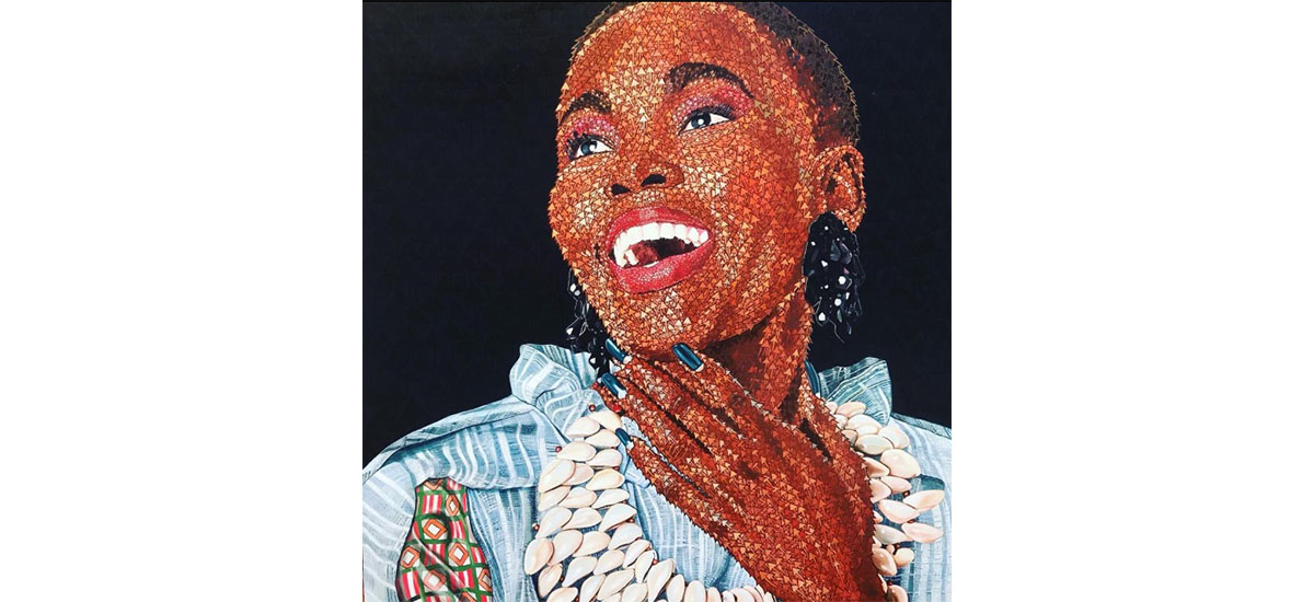 Rodrigo Gukwikila, Le sourire positif, 2019. Acrylique sur toile, 136 x 120 cm. Collection Tatiana Maresca