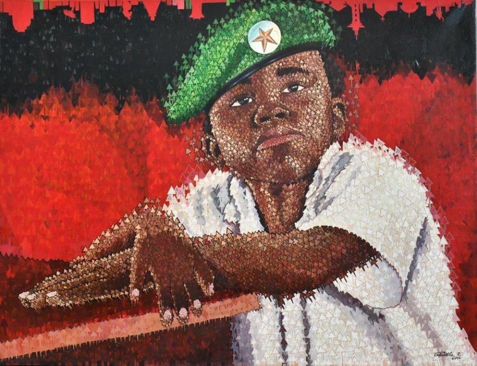 Rodrigo Gukwikila , Enfant soldat à l'école, acrylique sur toile, 130x100 cm, 2017, collection CFAO rdc. Premier prix du concours CFAO jeunes talents 2018