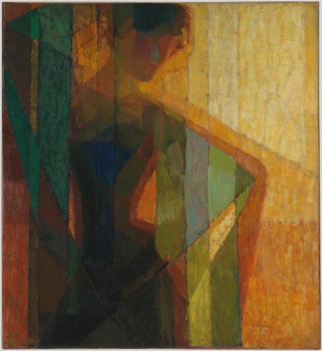 Frantisek Kupka (1871 - 1957)  Plans par couleurs 1910 - 1911 Huile sur toile 109 x 99,5 cm Inscriptions :S.D.B.DR. : Kupka / 1910-11