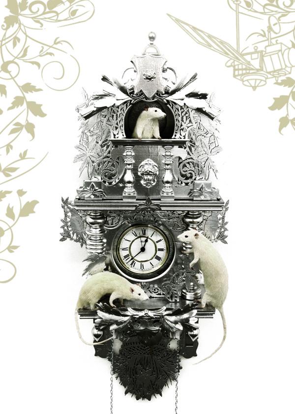 Ghyslain Bertholon, Comment j'ai tué le temps, 2009, taxidermie, bois sculpté laqué, mécanisme d'horloge haute précision, satellite géostationnaire, horloge atomique de Frankfurt