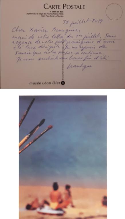 4. Mot du 31 juillet 2019 où Jean Le Gac s'inquiète de ne pas avoir de nouvelles. Mon article était parti par la poste la veille et ne devait pas lui parvenir… Une nouvelle expédition mi-septembre atteignait son destinataire.