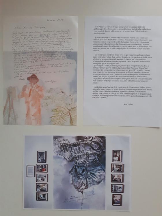 Texte « Yo Picasso » et reproduction du photo-texte Elles sont devenues de nouvelles œuvres, accompagnant la lettre du 30 mai 2019